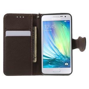 Červené/hnedé kožené puzdro pre Samsung Galaxy A3 - 2