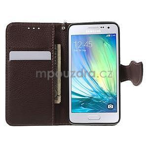 Rose/hnedé kožené puzdro na Samsung Galaxy A3 - 2
