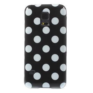 Čierny puntíkatý gélový obal pre Samsung Galaxy S5 mini - 2