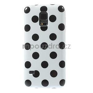 Biely puntíkatý gélový obal pre Samsung Galaxy S5 mini - 2