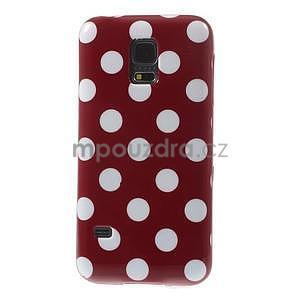 Červený puntíkatý gélový obal pre Samsung Galaxy S5 mini - 2