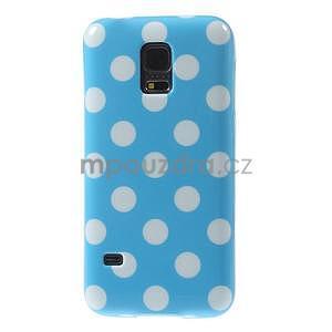 Svetlo modrý puntíkatý gélový obal pre Samsung Galaxy S5 mini - 2