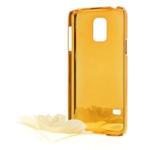 Strieborné elegantní plastové puzdro se zlatým lemem pre Samsung Galaxy S5 mini - 2