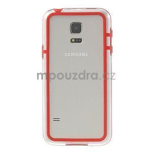 Červený gélový kryt s plastovými lemy pre Samsung Galaxy S5 mini - 2