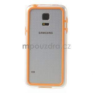 Oranžový gélový kryt s plastovými lemy pre Samsung Galaxy S5 mini - 2
