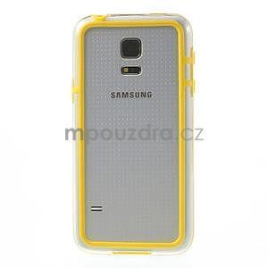 Žltý gélový kryt s plastovými lemy pre Samsung Galaxy S5 mini - 2