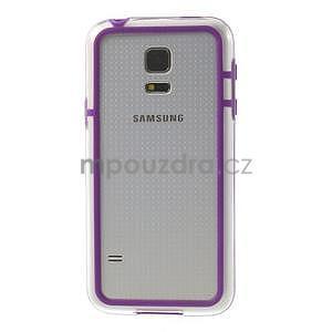 Fialový gelový kryt s plastovými lemy na Samsung Galaxy S5 mini - 2