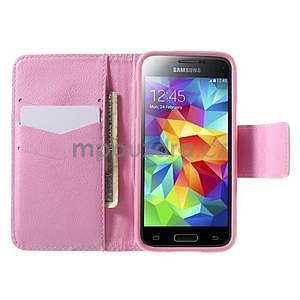 Zapínací peňaženkové puzdro pre Samsung Galaxy S5 mini - kvetinová sova - 2