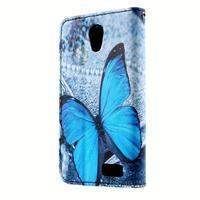 Peňaženkové puzdro pre mobil Lenovo A319 - modrý motýľ - 2/6
