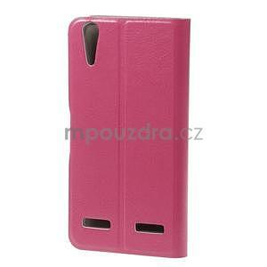 Peňaženkové PU kožené puzdro pre Lenovo A6000 - rose - 2