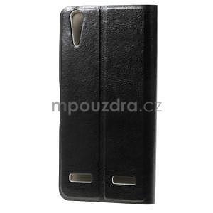 Peňaženkové PU kožené puzdro pre Lenovo A6000 - čierne - 2
