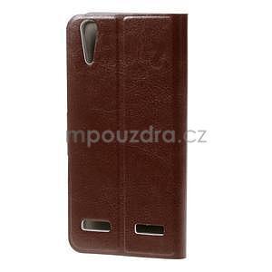 Peňaženkové PU kožené puzdro na Lenovo A6000 -  hnedé - 2