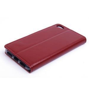 Peňaženkové PU kožené puzdro pre Lenovo S60 - hnedé - 2