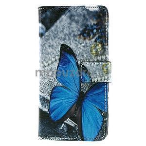 PU kožené peňaženkové puzdro na Lenovo S850 -  modrý motýľ - 2