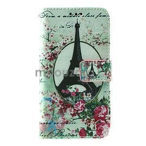 PU kožené peňaženkové puzdro na Lenovo S850 - Eiffelova veža - 2