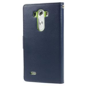 Luxusní PU kožené pouzdro na mobil LG G3 - tmavěmodré - 2