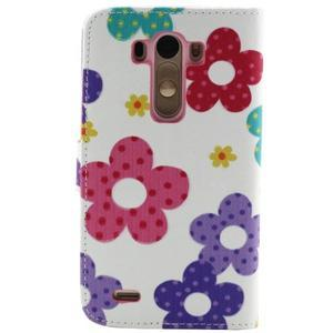 Obrázkové koženkové puzdro pre mobil LG G3 - maľované kvetiny - 2