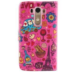 Obrázkové koženkové pouzdro na mobil LG G3 - symboly Paříže - 2