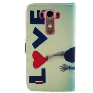 Obrázkové koženkové puzdro pre mobil LG G3 - love - 2
