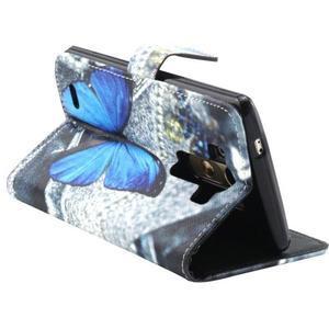 Obrázkové koženkové puzdro pre mobil LG G3 - modrý motýľ - 2