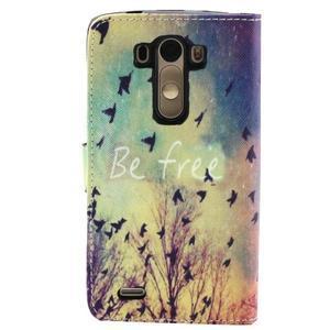 Obrázkové koženkové puzdro pre mobil LG G3 - lietajúce vtáčiky - 2