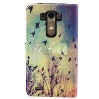 Obrázkové koženkové puzdro pre mobil LG G3 - lietajúce vtáčiky - 2/5
