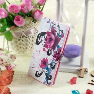 Motive koženkové pouzdro na LG G3 - fialový květ - 2