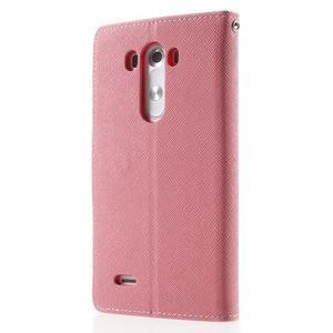 Cross PU kožené pouzdro na LG G3 - růžové - 2