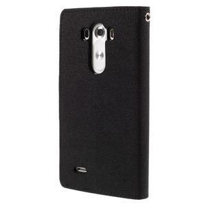 Canvas PU kožené/textilní pouzdro na LG G3 - černé - 2