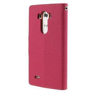 Canvas PU kožené/textilné puzdro pre LG G3 - rose - 2
