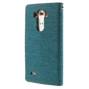 Canvas PU kožené/textilné puzdro pre LG G3 - zelené - 2