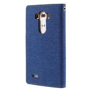 Canvas PU kožené/textilní pouzdro na LG G3 - modré - 2