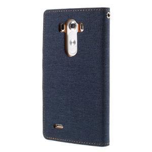 Canvas PU kožené/textilné puzdro pre LG G3 - tmavomodré - 2