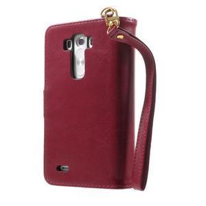 Patrové peněženkové pouzdro na mobil LG G3 - vínově červené - 2