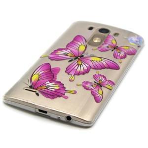 Priehľadný gélový obal pre LG G3 - motýľe - 2