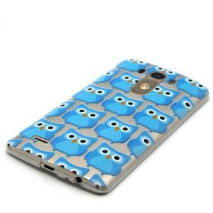 Priehľadný gélový obal pre LG G3 - modré malej sovy - 2