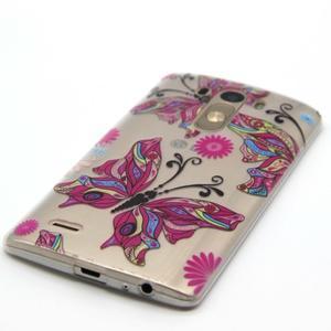 Priehľadný gélový obal pre LG G3 - farební motýľe - 2