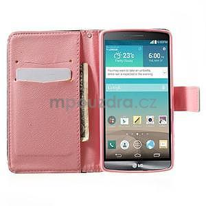 Zapínací peňaženkové puzdro pre LG G3 s - srdce - 2