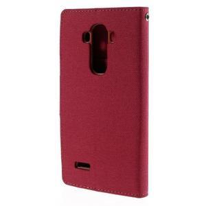 Canvas PU kožené/textilní pouzdro na mobil LG G4 - červené - 2