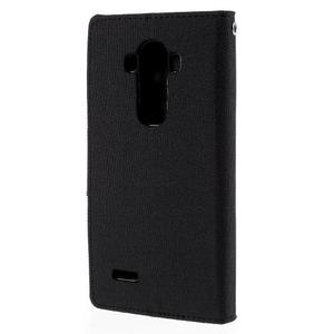 Canvas PU kožené/textilné puzdro pre mobil LG G4 - čierne - 2