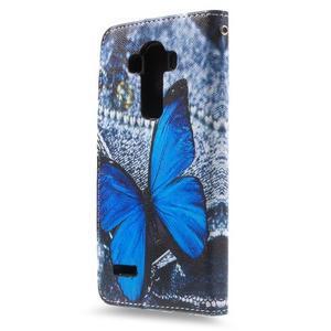 Call peňaženkové puzdro pre LG G4 - modrý motýľ - 2