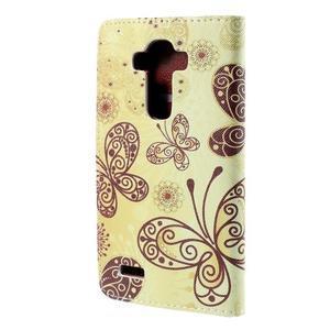 Koženkové puzdro pre mobil LG G4 - motýľe - 2