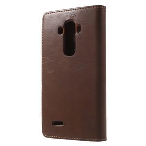 Luxury PU kožené puzdro pre mobil LG G4 - hnedé - 2