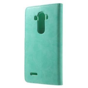 Luxury PU kožené puzdro pre mobil LG G4 - cyan - 2