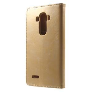 Luxury PU kožené puzdro pre mobil LG G4 - zlaté - 2