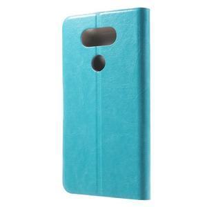 Horse PU kožené peňaženkové puzdro pre LG G5 - modré - 2