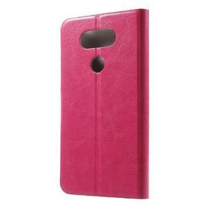 Horse PU kožené peňaženkové puzdro pre LG G5 - rose - 2