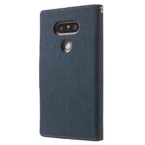 Canvas PU kožené/textilní pouzdro na LG G5 - tmavěmodré - 2