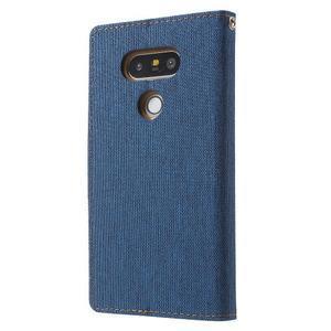 Canvas PU kožené/textilné puzdro pre LG G5 - modré - 2
