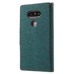 Canvas PU kožené/textilné puzdro pre LG G5 - zelené - 2